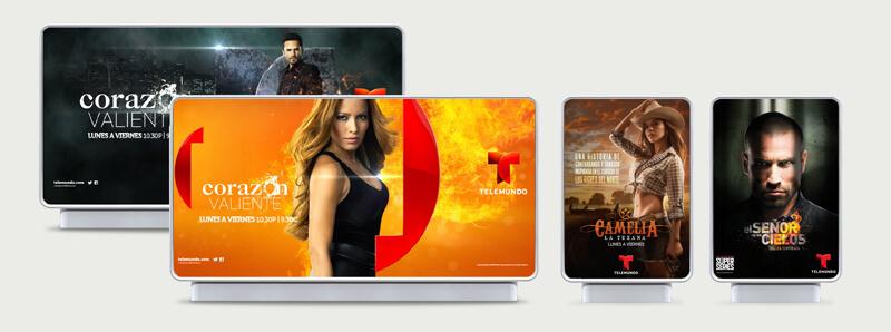 On-screen applications of the Telemundo brand design. Source: dixonbaxi.com/work/telemundo/