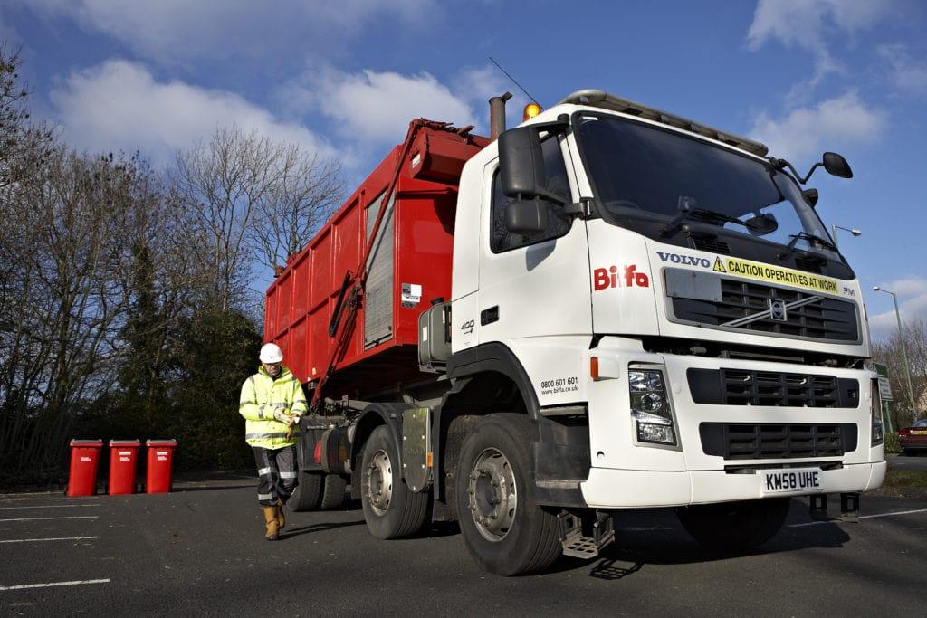 Biffa Bin Lorry With Biffa Worker