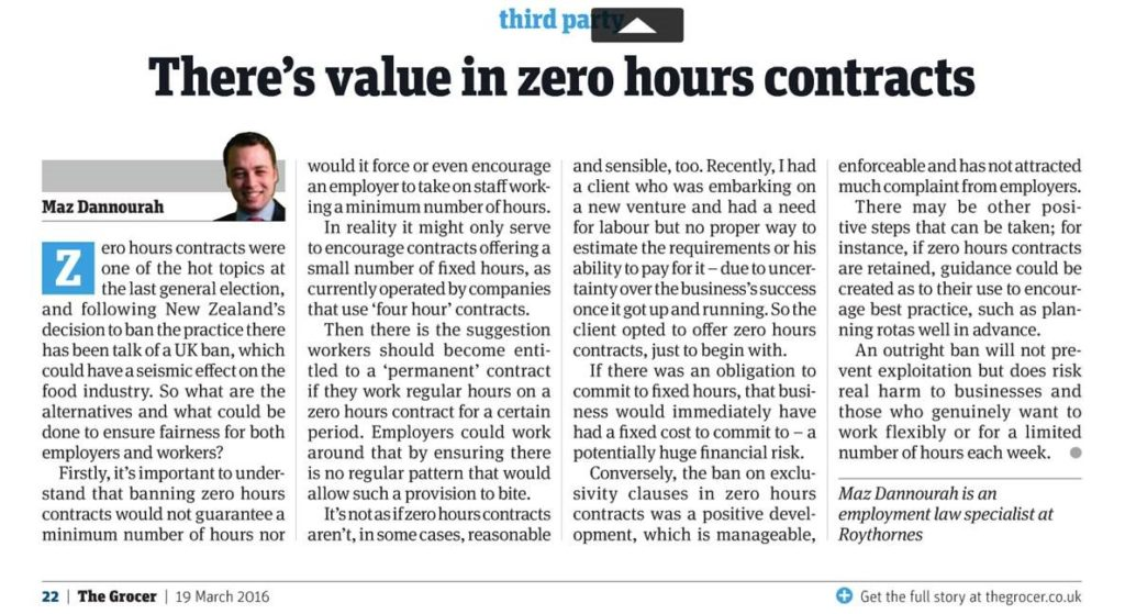 Zero Hours Contract Blog From The Grocer