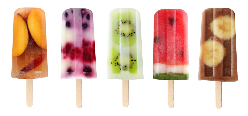 Five Ice Lollies With Fruit In Them