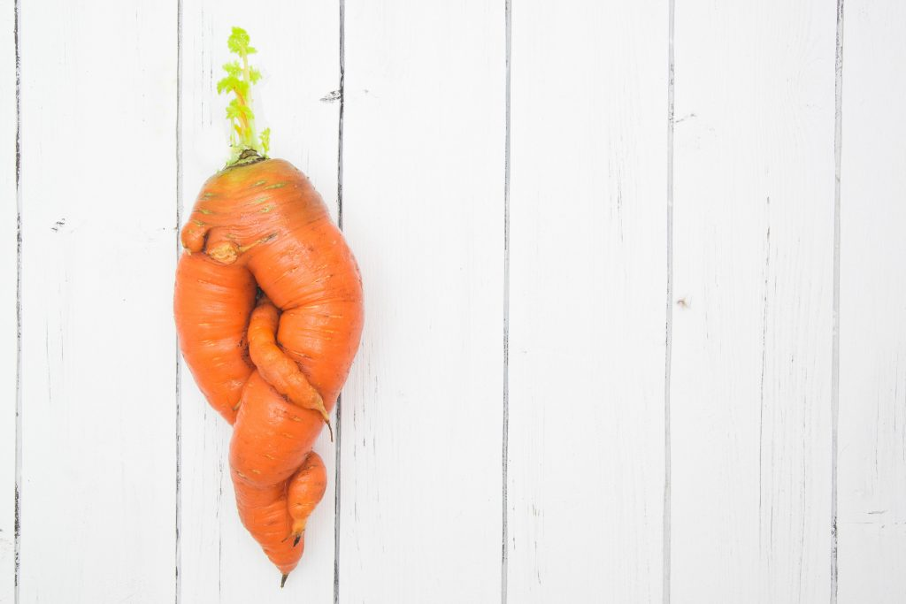 Food waste wonky carrot