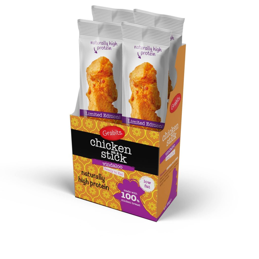 Grabits Open Box Of Chicken On A Stick Vindaloo Flavour
