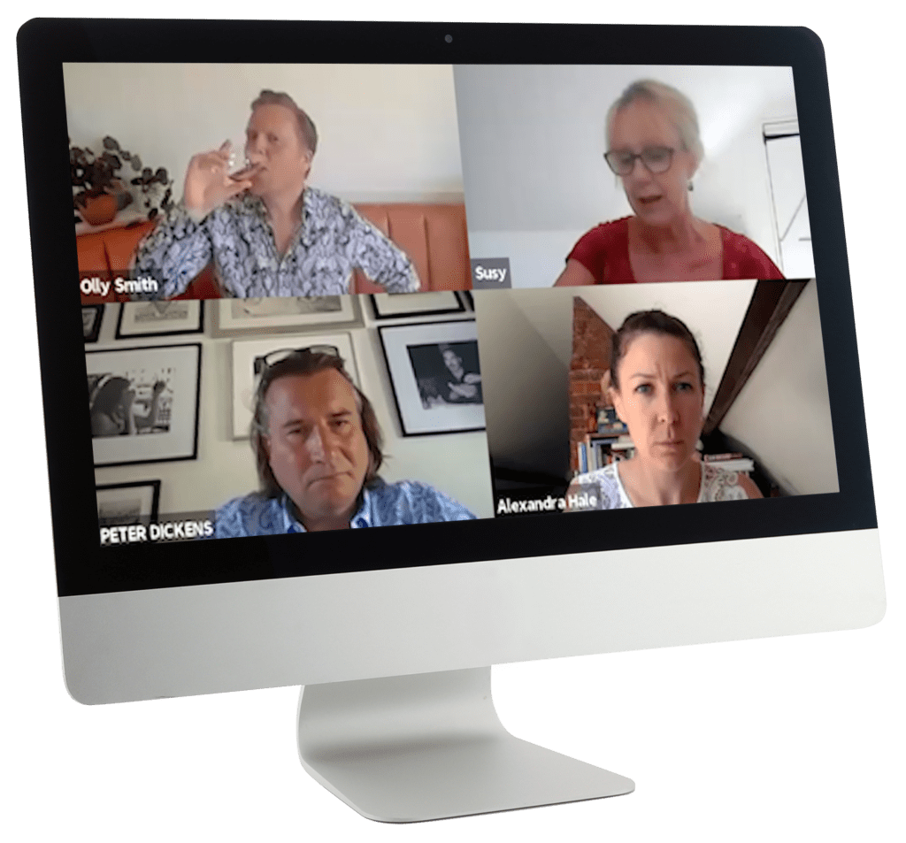 Four People On A Group Video Call On A Monitor